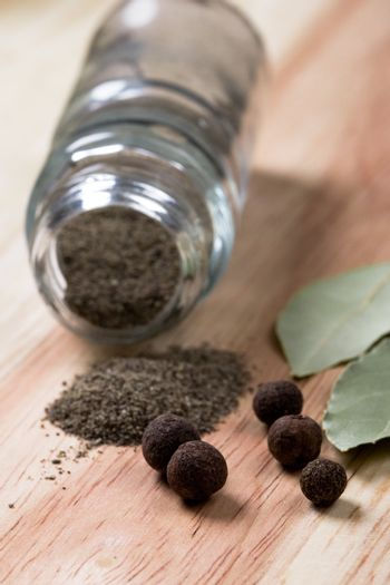 pepper and bay leaves