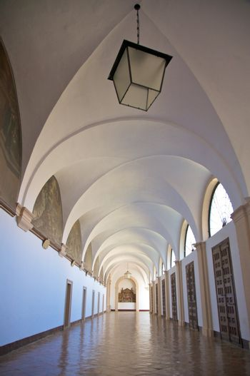 passage with lanterns in monastery