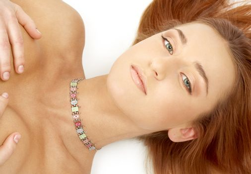 green eyed redhead with collar