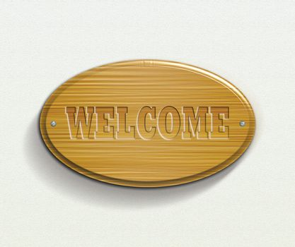 wooden plate with welcome text illustration file