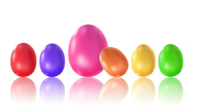 Colored eggs with reflection on white