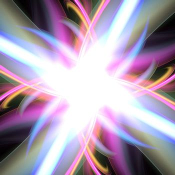 A bright glowing rainbow colored fractal flare design that works great as a background or backdrop.
