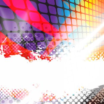 A colorful abstract background layout with halftone dots and negative space.