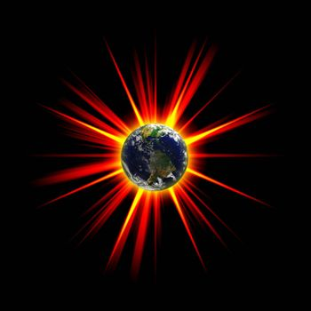 Illustration of an exploding planet earth or asteroid collision against the globe.  Earth image courtesy of NASA.