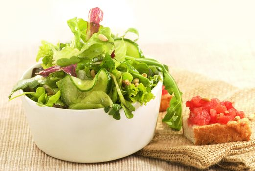 fresh mixed salad and toast