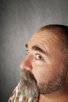 Profile closeup of man in his 40s