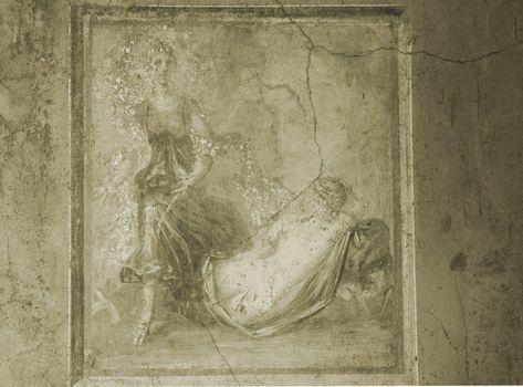 Pompeii Fresco in Sepia