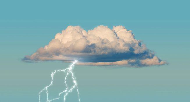 Cumulus cloud with lightning