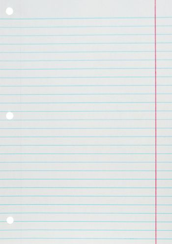 Blank white paper sheet with blue lines