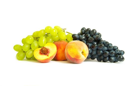 Grape and peach isolated on a white background