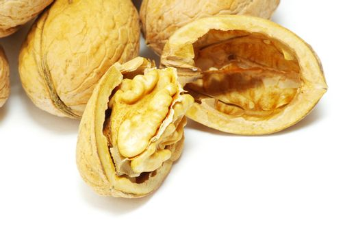 fresh walnuts isolated on a white background