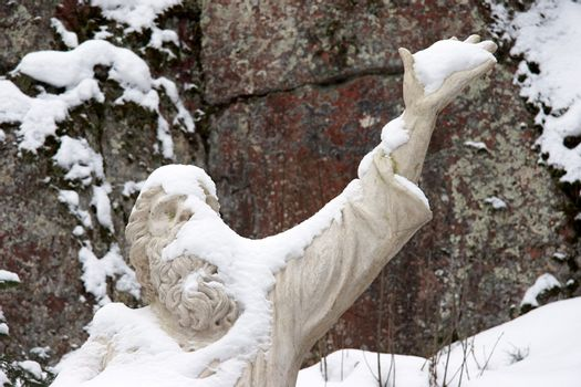Statue of Vainamoinen, the character in Finnish folklore