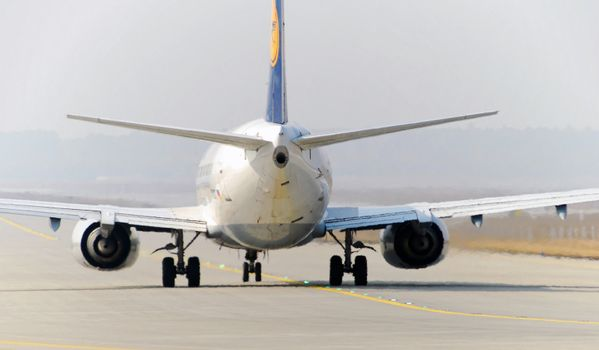 Lufthansa jet taxiing