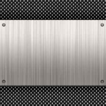 Carbon fiber background with a riveted piece of brushed aluminum plate. Plenty of copyspace in this layout.