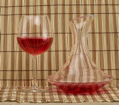 Stil life with decanter and goblet