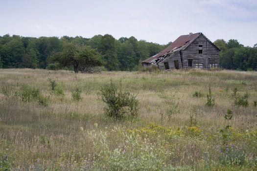 run down farm house