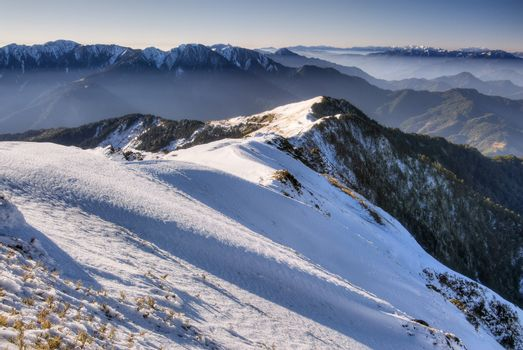 Landscape of mountain in winter with snow in morning, Taiwan, Asia.