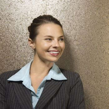Pretty Caucasian businesswoman smiling.