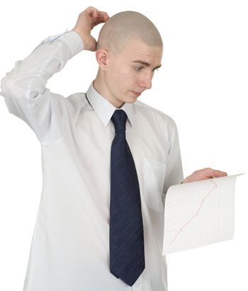 The perplexed guy with the financial graph in hands