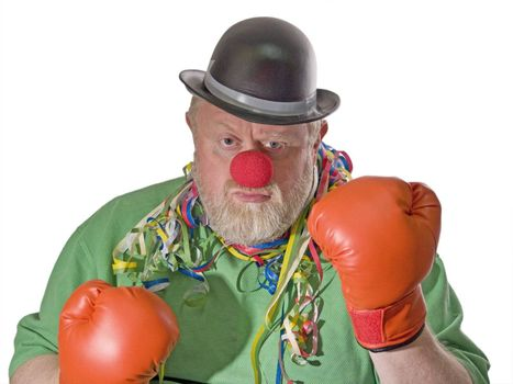 Boxing clown with black hat, false nose and boxing gloves