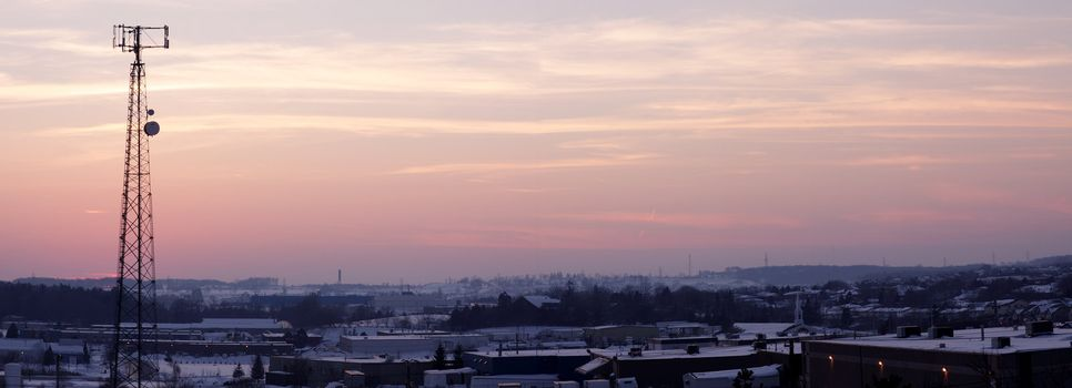Panoramic Pinkish Cell Tower Silhouette