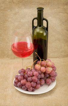 Bottle, gapes and goblet