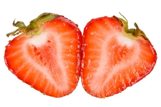 close-up cut strawberry, isolated on white