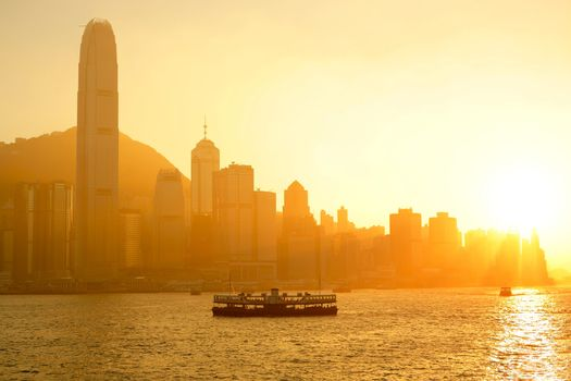 Hong Kong with heavy smog and sunlight