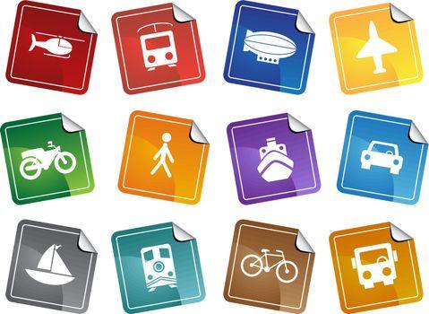 Set of 12 transportation web buttons - sticker style.