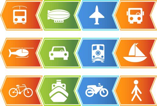 Set of 12 transportation web buttons - chevron style.