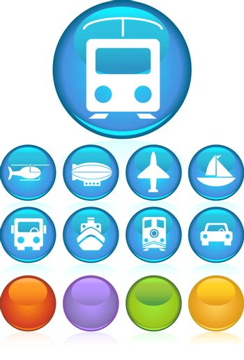 Set of 9 transportation web buttons - round style.