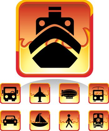 Set of 9 transportation web buttons - square fire style.