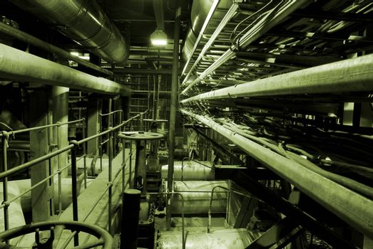 Boilers, ladders and pipes at a power plant