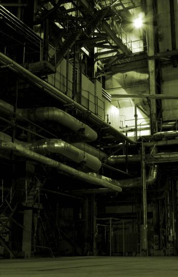 Boilers, ladders and pipes on power plant