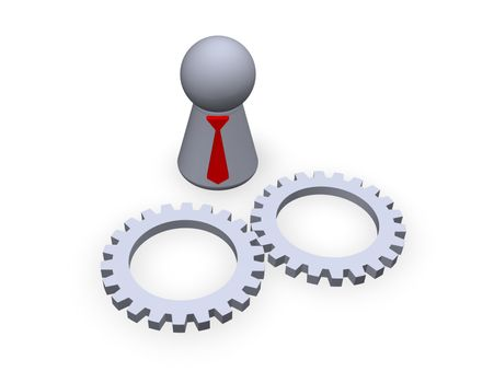 play figure with red tie and two gear wheels
