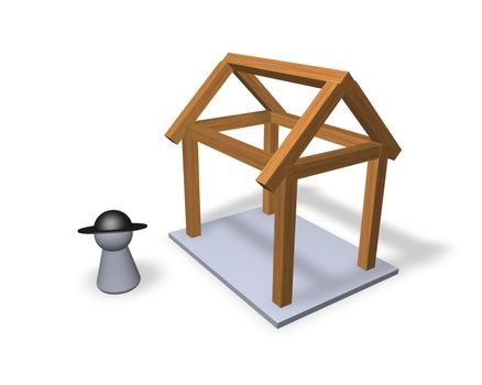 play figure carpenter and  and wood bars for new building