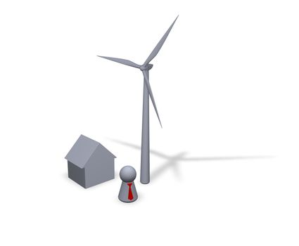 wind turbine, house and play figure with red tie