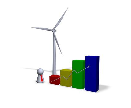 diagram, wind turbine and play figure with red tie