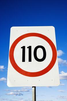 Kilometer road sign