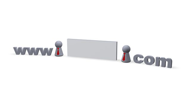 www dot com text in 3d , blank sign for name and play figures with red tie