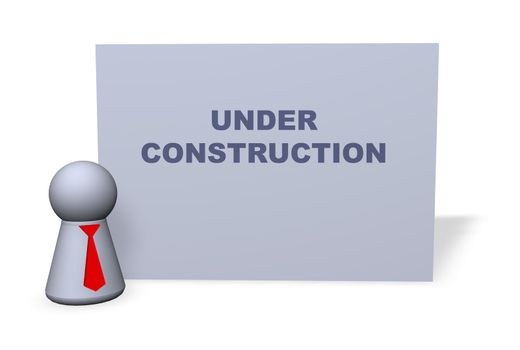"""play figure with red tie and sign """"under construction"""""""
