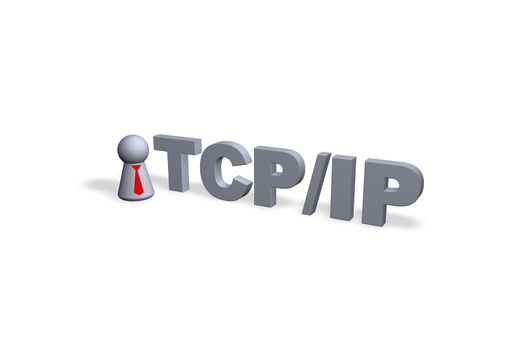 TCP/IP text in 3d and play figure with red tie