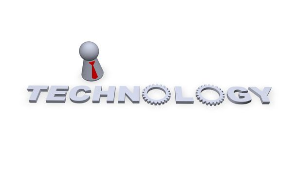 technology text in 3d and play figure with red tie