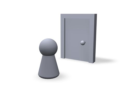 play figure and closed door