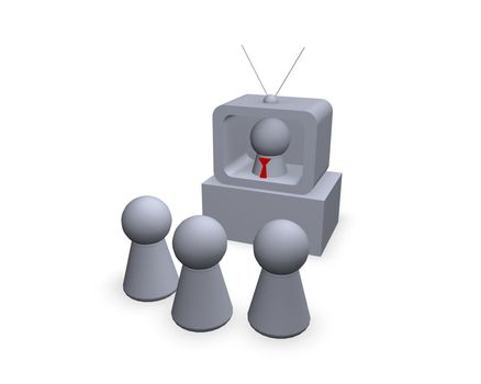play figures - viewers and speaker in the tv