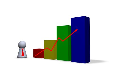 statistics diagram and play figure with red tie
