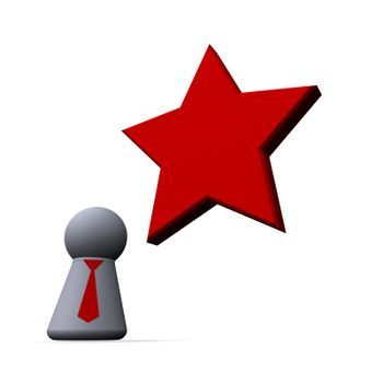 red  star and play figure with red tie