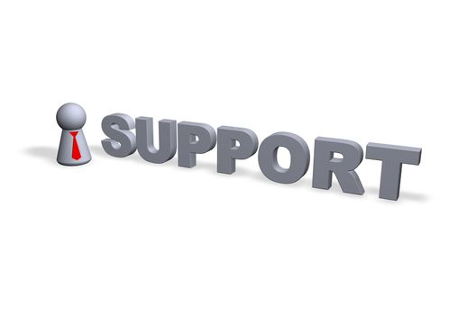support text in 3d and play figure with red tie