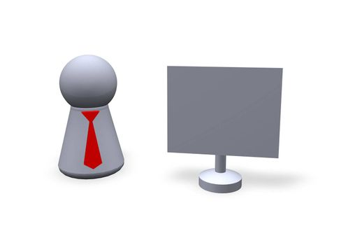 play figure with red tie and blank sign