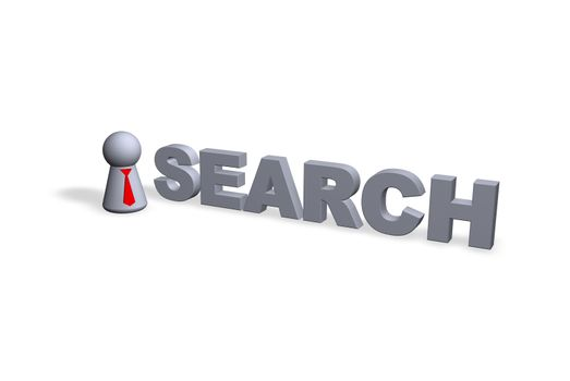 search text in 3d and play figure with red tie